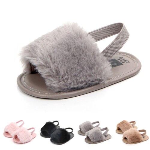 Fashion Infant Toddler Baby Girls Fur Sandals Girls Soft Sole Shoes Anti-slip Flip-flops Flat Casual Prewalker Summer