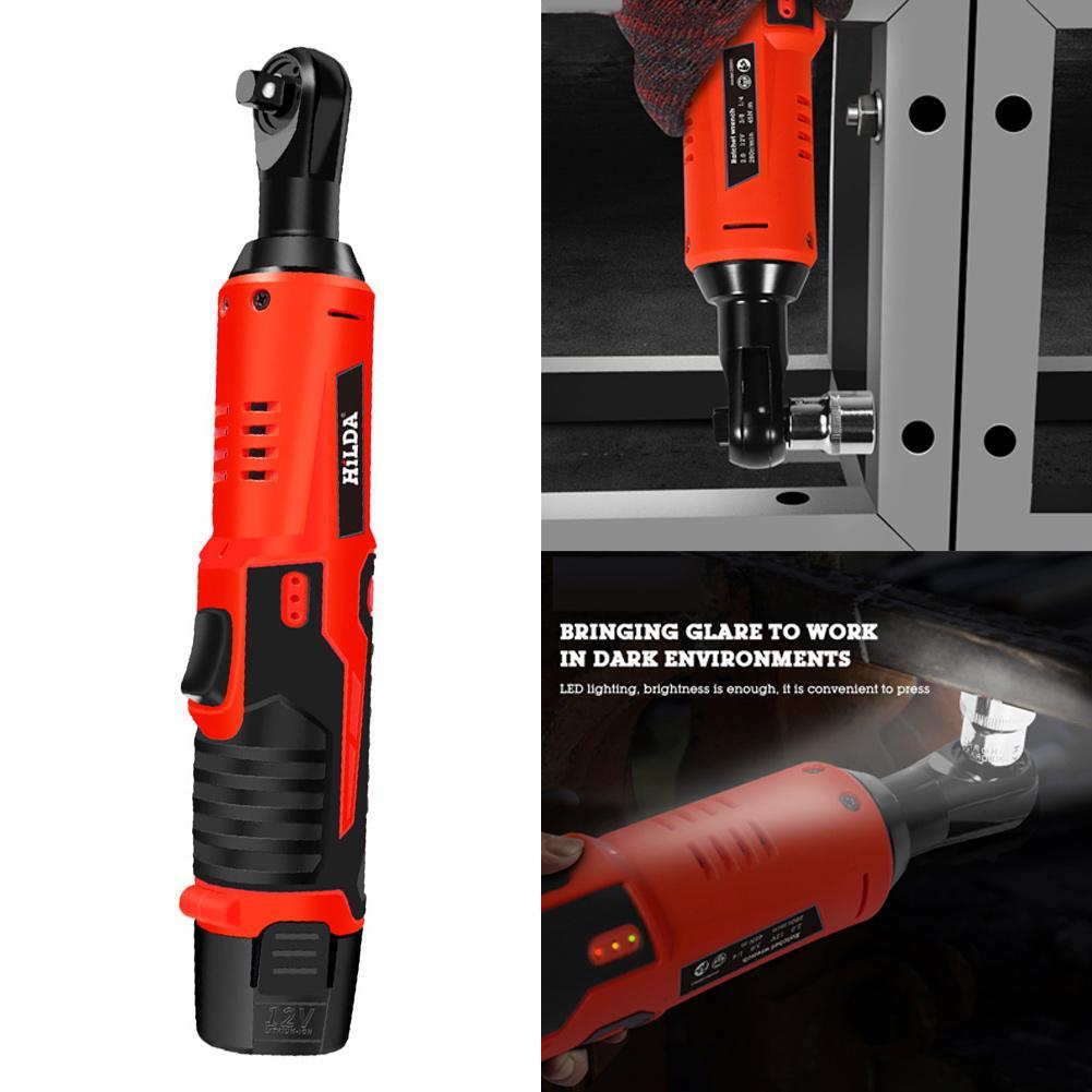 12 v batterie au Lithium Rechargeable clé électrique clé à cliquet Portable 90 degrés outil électrique clé chargeur rapide livraison directe