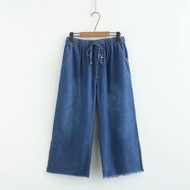 Plus size women Oversized   jeans   midi waist trousers wide leg ankle pants