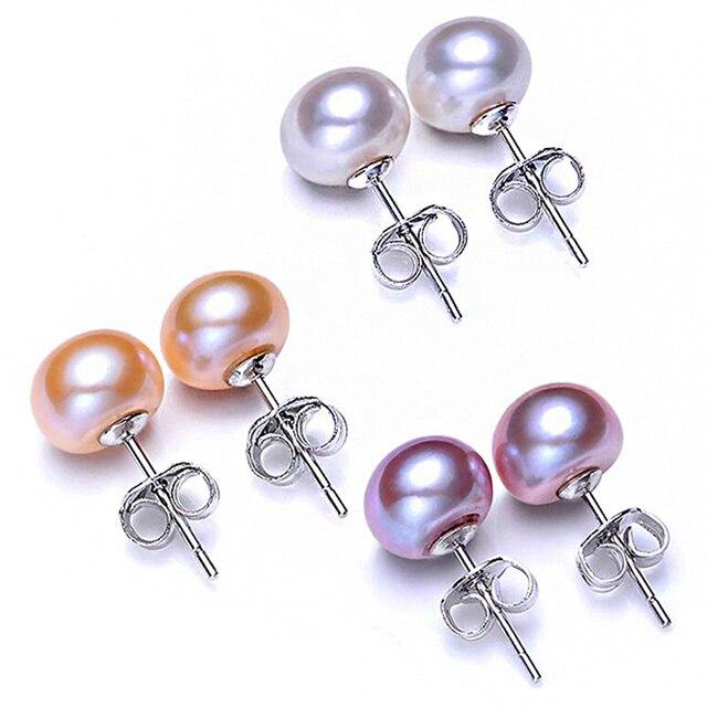 ホット販売 3 色 6-9 ミリメートル 100% 925 シルバー天然真珠のイヤリング古典的なファッション真珠のイヤリング女性