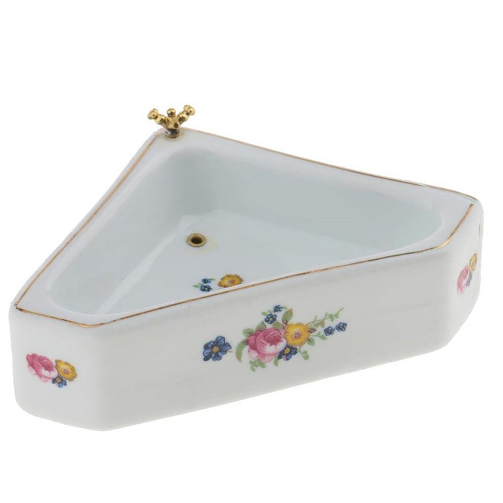 Luxury Dollhouse Miniature Ceramic Bathroom Floral Lavabo Washing Basin Suitable for Your 1/12 Dolls House DecorationLuxury Dollhouse Miniature Ceramic Bathroom Floral Lavabo Washing Basin Suitable for Your 1/12 Dolls House Decoration