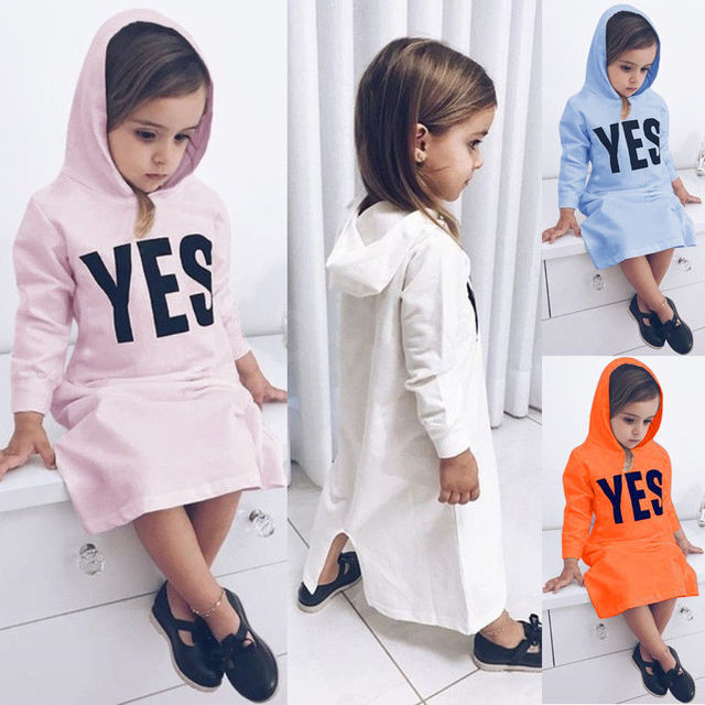 a9ea14501335 Little Girl Letter Yes Hooded Dress Toddler Kids Baby Girls Long Dresses  Hoodies Overpull Outerwear Casual Clothes 1-6T