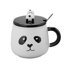 Creative Cartoon Panda Ceramic Mug 3D Embossed Cup Lid with Spoon Coffee Milk Teacup Student Gift Cup(Random Style,301-400ml)(China)