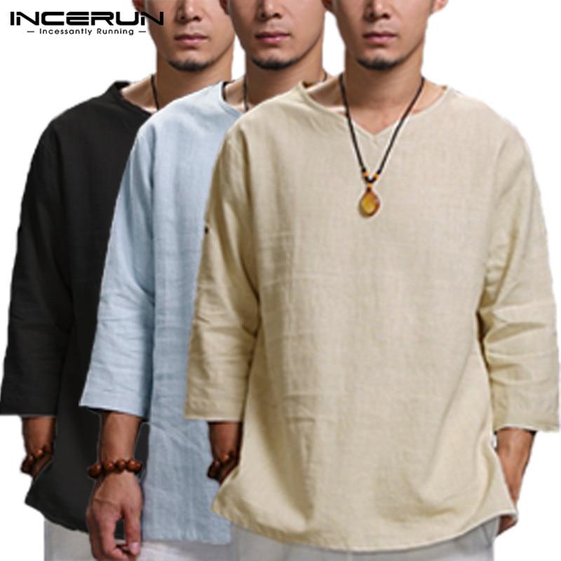 Incerun estilo chinês camisas dos homens de manga longa dobrado v pescoço simples camiseta solto ajuste algodão topos homem roupas masculinas