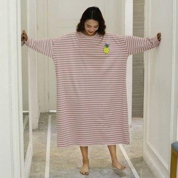 176797a2604916a Плюс размер весна осень женский пеньюар длинный рукав ночная рубашка  домашнее платье свободные полосатые ночные рубашки