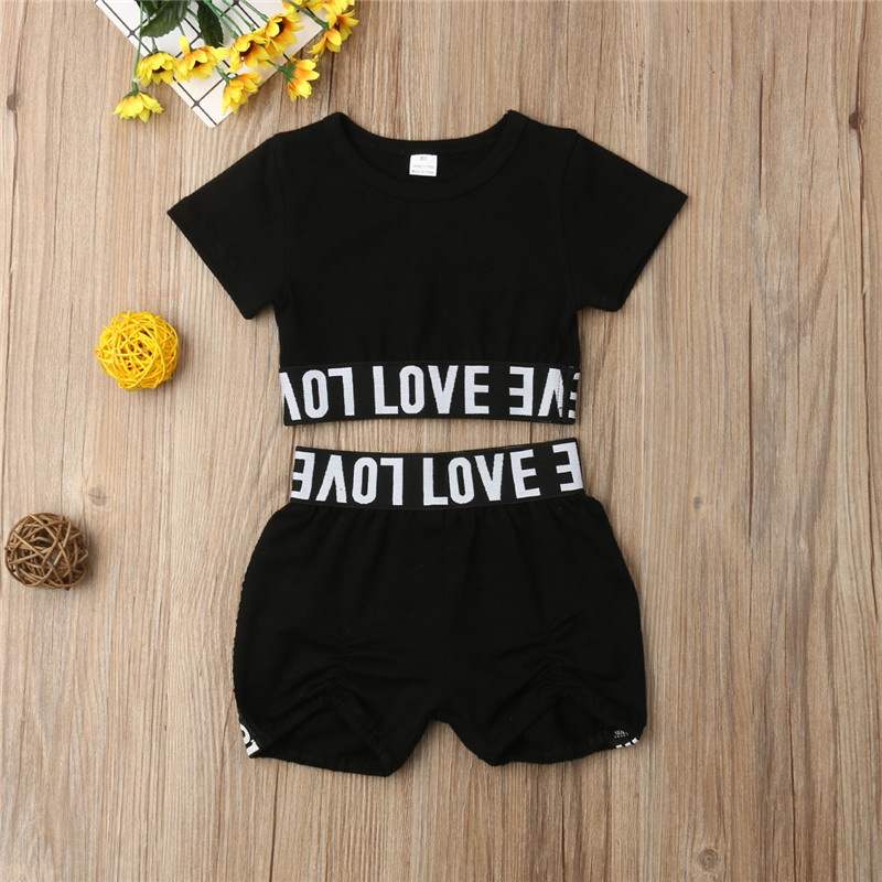 New Girl Kid Child Black Clothing Sets Short Sleeve Letter Crop Top T Shirt Shorts Clothes Summer Casual Sunsuit Outfit
