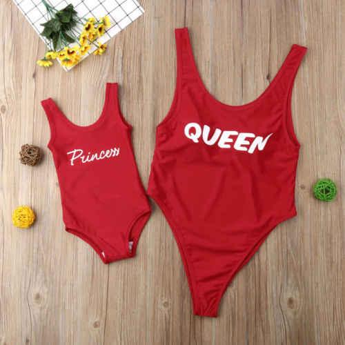 2019 Sexy famille Match rouge Bikini mère fille maillots de bain femmes enfant bébé fille une pièce Monokini maillot de bain maillots de bain