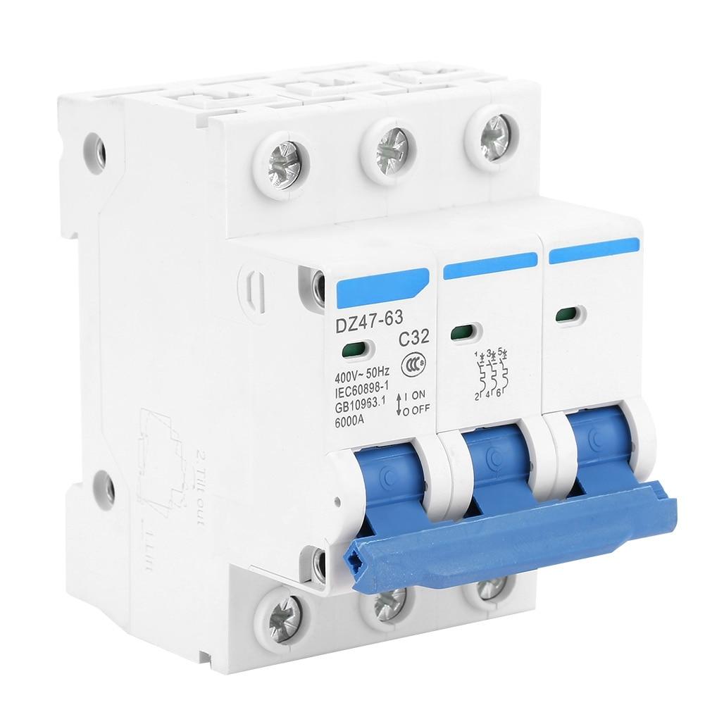 3P 25A 400V~ 50//60HZ Transparent case Mini Circuit breaker MCB safety breakers