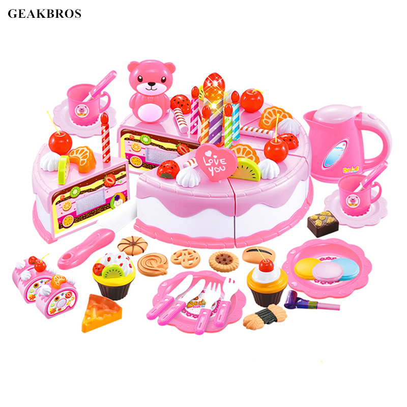 38-80pcs DIY Pretend Play Fruit Cutting Birthday Cake Kitchen Food Toys Cocina De Juguete Toy Children Girls Christmas Gift Toys birthday cake