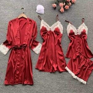 Image 1 - Lisacmvpnel 4 Pcs เซ็กซี่ลูกไม้ผู้หญิง Robe ชุดเสื้อสเวตเตอร์ถัก + Nightdress + กางเกงขาสั้นชุดชุดนอนแฟชั่น