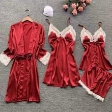 Lisacmvpnel 4 pcs 섹시한 레이스 여성 로브 세트 카디건 + nightdress + 반바지 세트 패션 잠옷