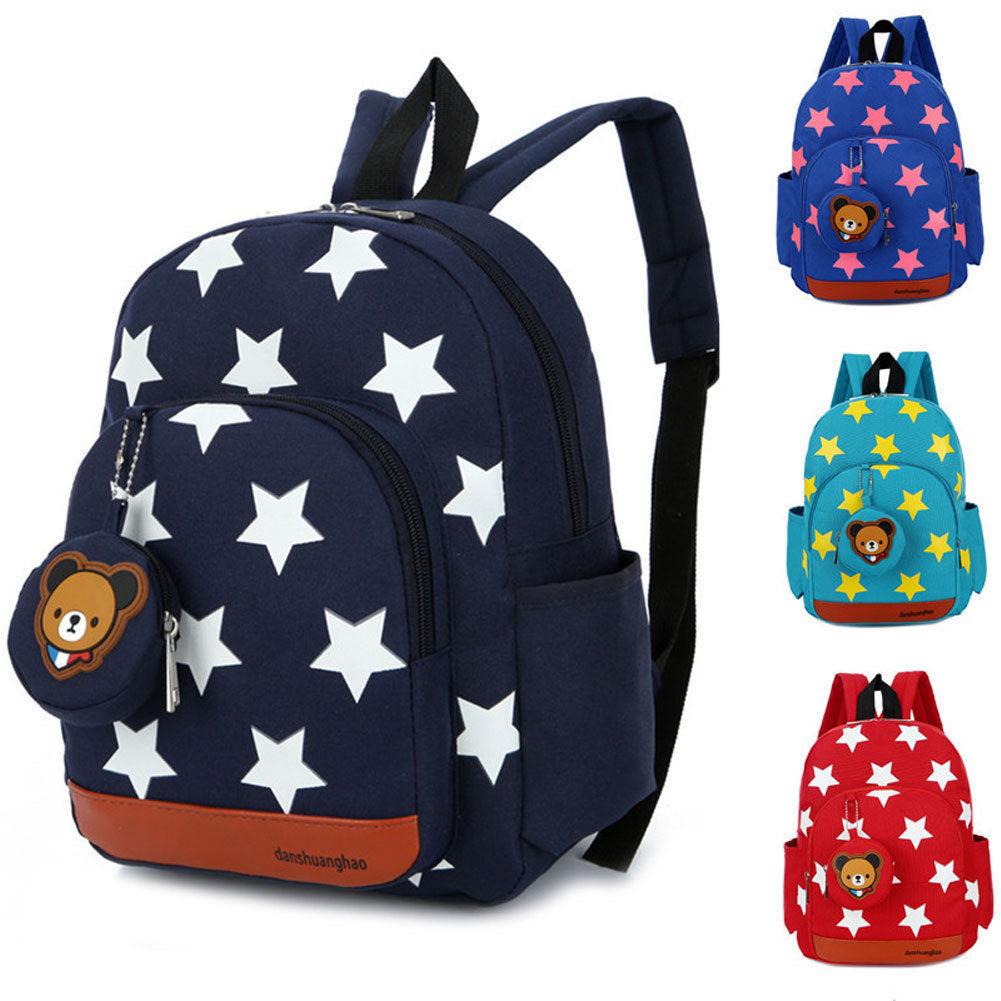 Zipper Backpack Rucksack Nursery Character Green Book-Bag Star-Pattern Blue Fashion Children