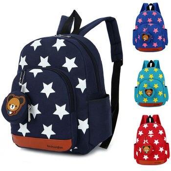 De moda nuevo chico de los niños estrella carácter de patrón cremallera mochila bolsas de la escuela vivero libro bolsa rojo verde azul