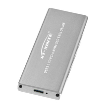 USB3.1 to PCIE NVME M2 SSD Enclosure Silver Aluminum HDD Case with Type C Cable M.2 NGFF M Key Heatsink Hole HDD Box for M.2 SSD цена и фото