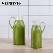 Vintage green ceramic flower vase home decoration flower ceramic pot porcelain floor  vase wedding decoration недорого
