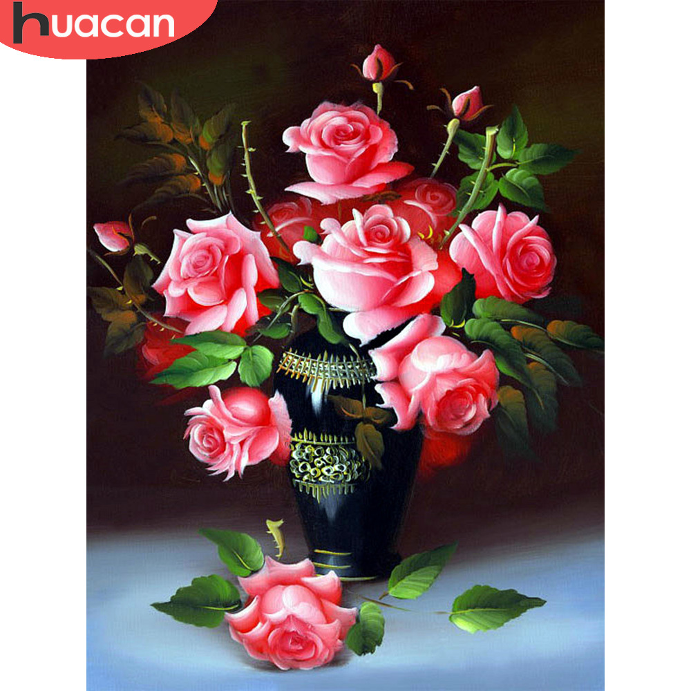 HUACAN 5D Diamond Embroidery Full Display Rose DIY Diamond Painting Flower Full Square Cross Stitch Mosaic Needlework Decor Home