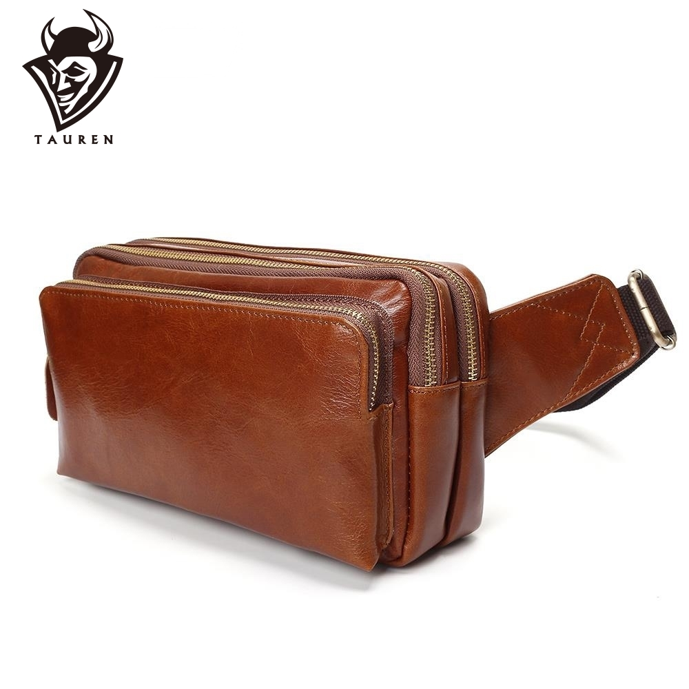 100 Genuine Leather Waist Packs Fanny Pack Belt Bag Phone Pouch Bags Travel Waist Pack Male