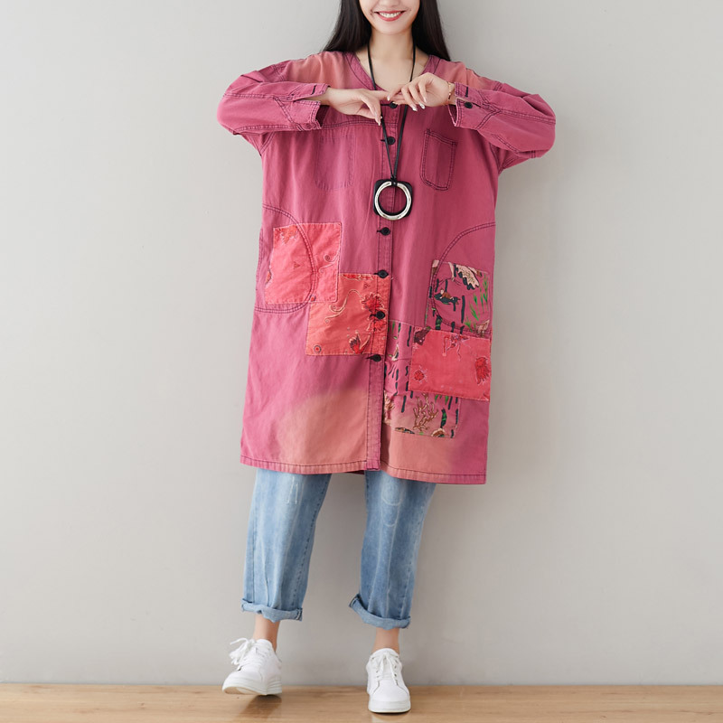 Oversized Denim Windbreaker Women Long V-neck Denim Cardigan plus size Single Breasted cowboy Windbreaker Patchwork   Trench