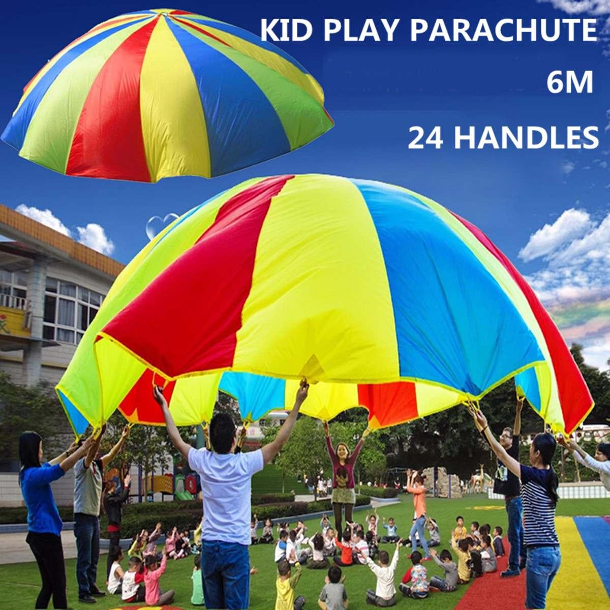 6M Rainbow Parachute Game 24 Handles Kids Play Parachute Rainbow Umbrella Parachute Outdoor Sports Children Interactive Toy6M Rainbow Parachute Game 24 Handles Kids Play Parachute Rainbow Umbrella Parachute Outdoor Sports Children Interactive Toy