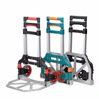60kg Capacity Multi Functional Aluminum Alloy Folding Hand Truck Outdoor Travel Shopping Three colors Dolly Trolley