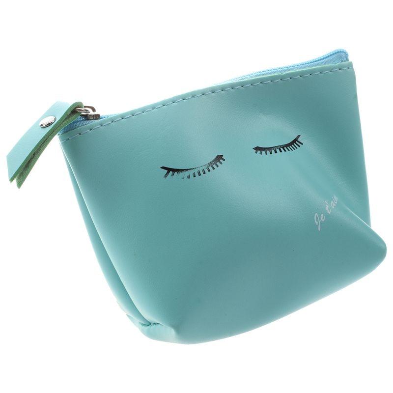 Женский милый кожаный кошелек на молнии для монет, кошелек, сумка для мелочи, брелок, держатель для карт, синий мигание