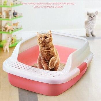 Kedi çöp kase anti-splash çift katmanlı yarı kapalı kum havzası plastik ekstra büyük kedi tuvalet pot çekme küçük kedi malzemeleri