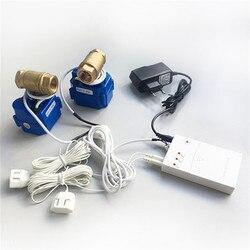 HIDAKA WLD-807 (DN15*2 stücke) wasser Undicht Detektor Alarm für Smart Home Sensor Kabel mit 2 stücke 1/2 BSP NPT Ventil 6m Eu /UNS Stecker