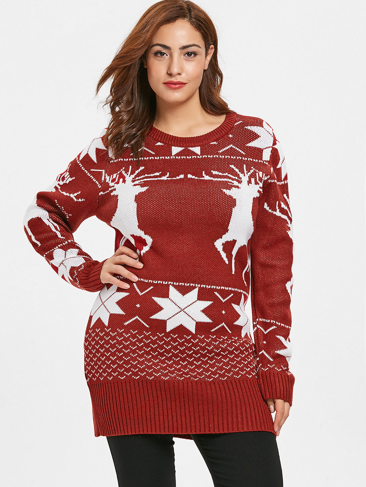 Plus Size Ugly Christmas Sweater.Us 17 59 48 Off Wipalo Women Fashion Plus Size Reindeer Ugly Christmas Sweater Ladies Casual O Neck Long Sleeve Long Pullover Sweater Winter Top In