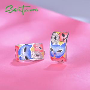 Image 4 - SANTUZZA כסף עגילים לנשים 925 סטרלינג כסף עם לבן CZ בעבודת יד אמייל יפה חתול ייחודי עגיל תכשיטים