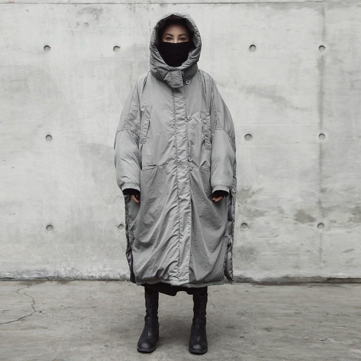 Chaud Solide Manteau Nouveau Capuche 2018 Épaississement Femmes Grande Veste Long Mode Automne À Gris Taille Clair De Marée Hiver Vent Couleur SO6gnw6q