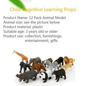 Image 3 - 12Pcs Simulated Wild Animals Model Toy Doll Lion Zebra Panda Orangutan Giraffe Rhinoceros Tiger PVC Action Figure Hot Set Toys