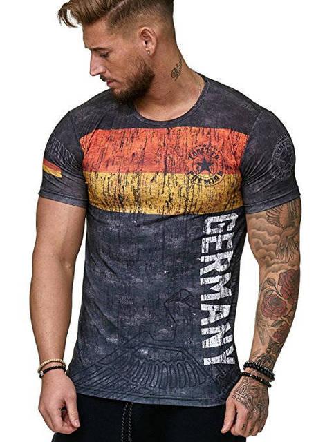 2019 yeni yaz Alman mektup erkek tişört 3D baskı yuvarlak boyun rahat t shirt t-shirt erkekler için