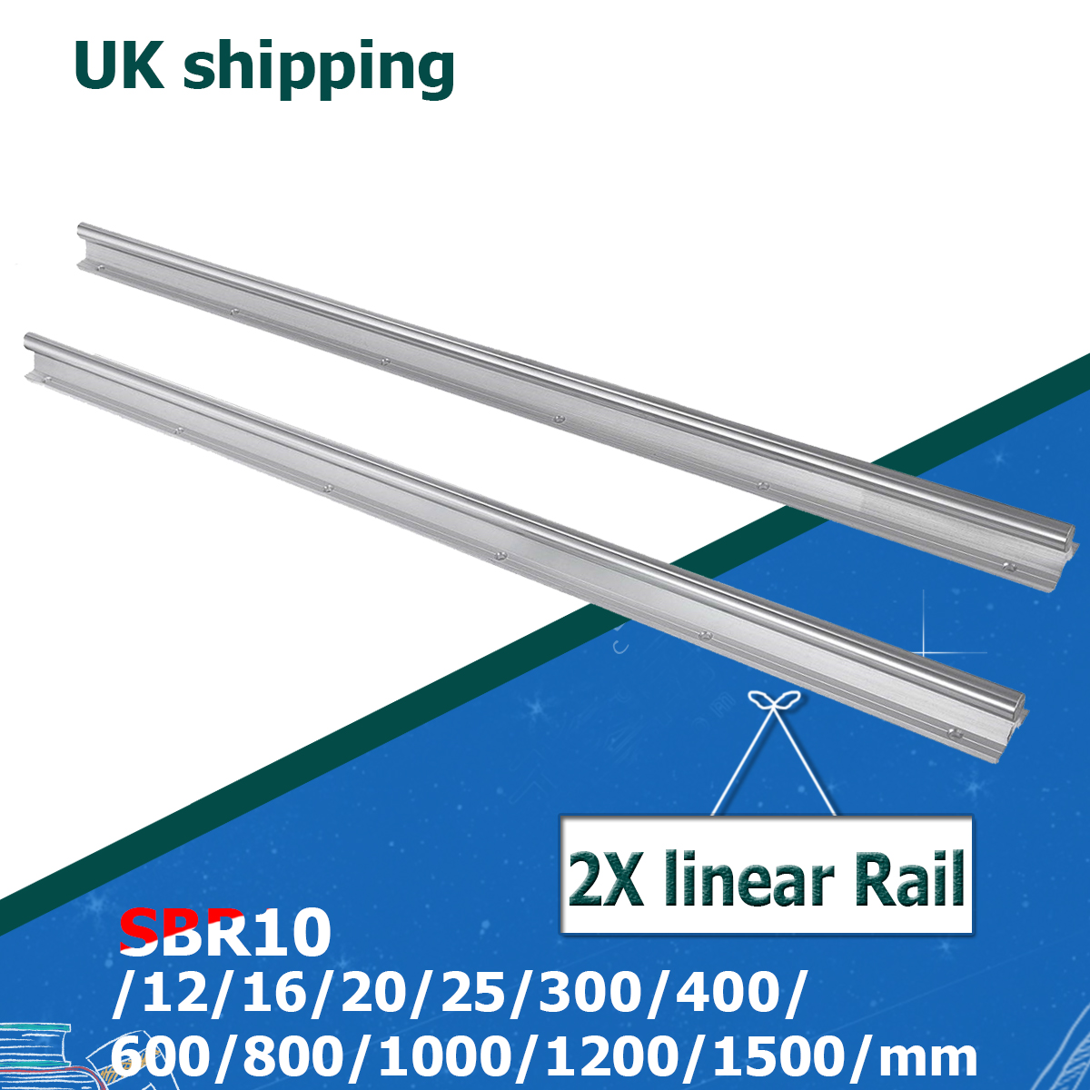 UK Shipping 2Pcs SBR10 SBR12 SBR16 SBR20 SBR25 10mm 12mm 16mm 20mm 25mm Linear Rail Any Length Support Round Guide Rail For CNC