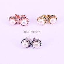 8Pairs Fashion Gold Silver Rose Gold Round Design Pearl Earrings Micro Pave Multi color CZ Stud Earrings For Women Jewelry Gift(China)