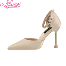 купить 2019 Summer High Heels Sandals Women Party Dress Thin Heels Sexy Stiletto Sandals Cover Heel Fashion Buckle Strap Shoes Nysiani дешево