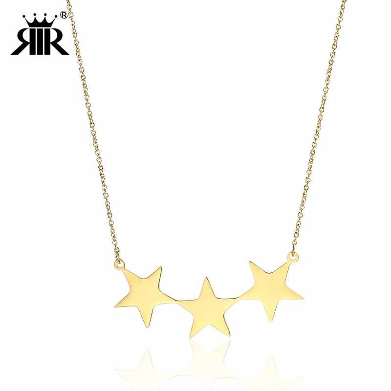 RIR Dainty Star Choker Gold Star Necklace Stainless Steel Star Necklaces Dangle Star Pendant Necklace Gift For Her