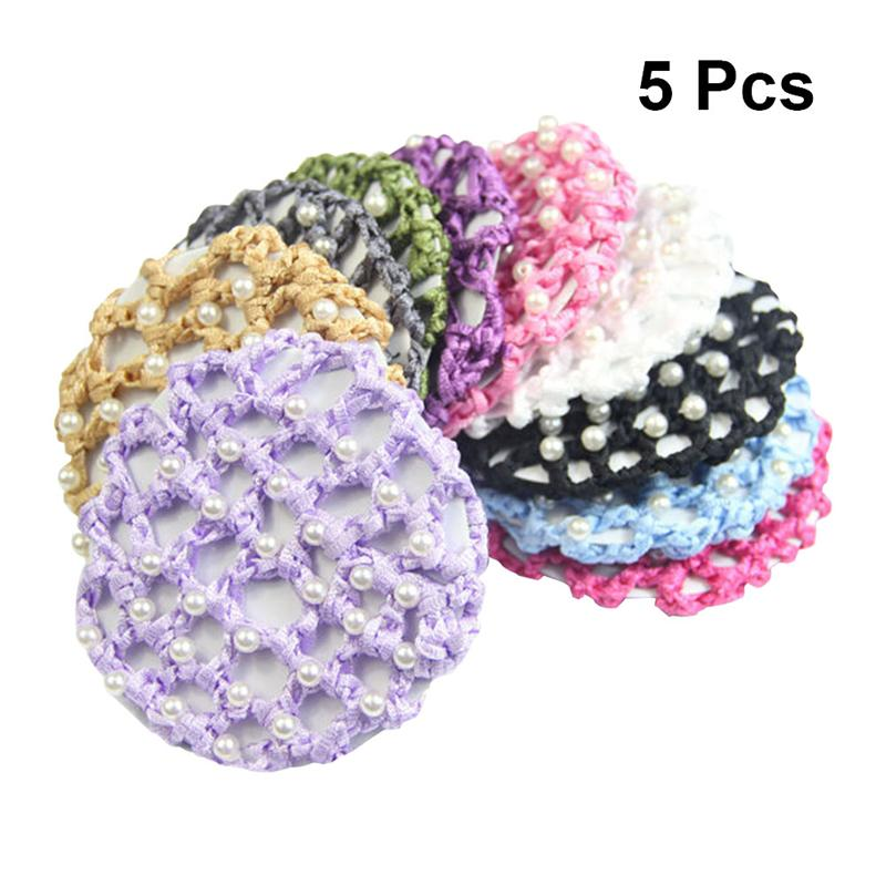 5pcs Elastic Hair Snood Net Handmade Crochet Pearl Hairnet Heardress for Dance Performance