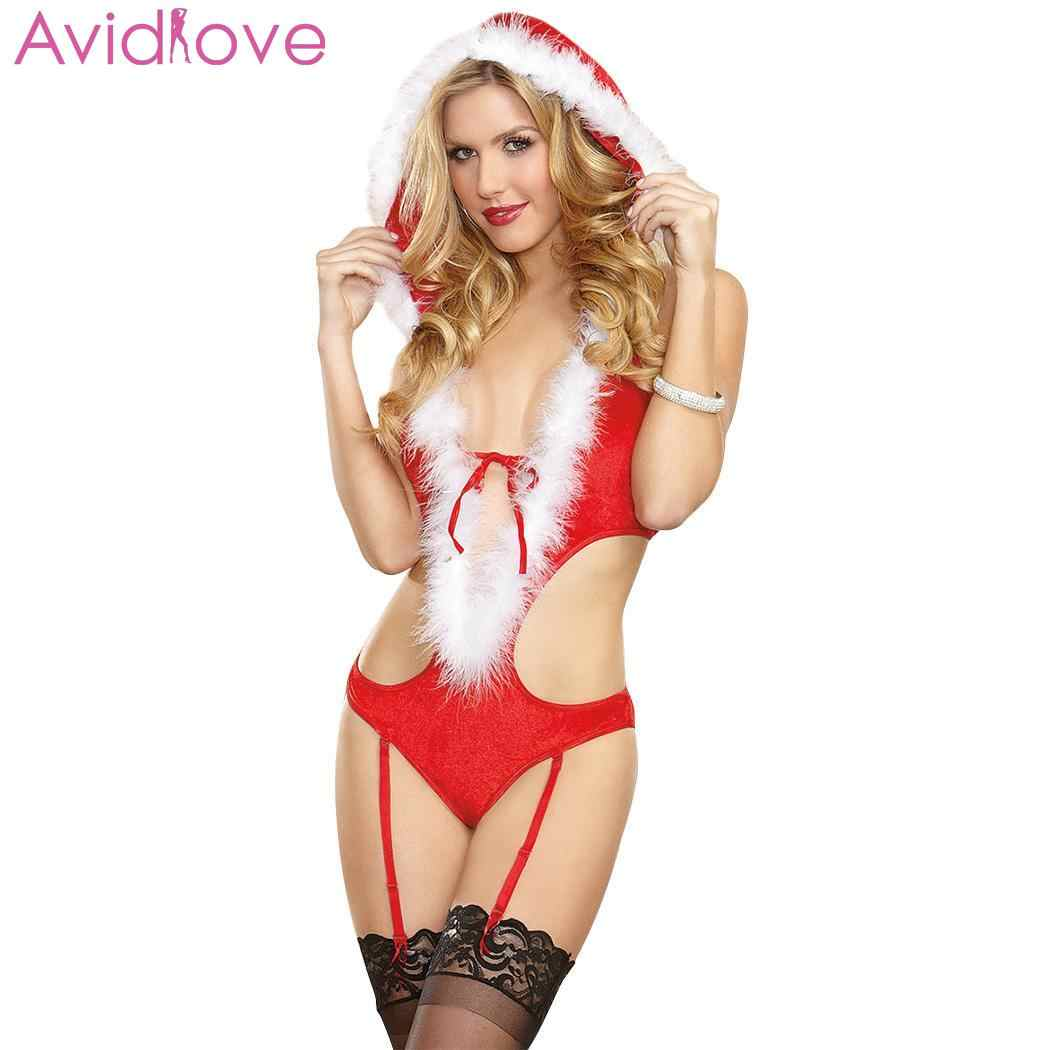 e87daf47396 Detail Feedback Questions about Avidlove Lingerie Sexy Christmas Bodysuit  Winter Bodystocking Hooded Knot Bow Artificial Waist Sleepwear Home Low  Women on ...