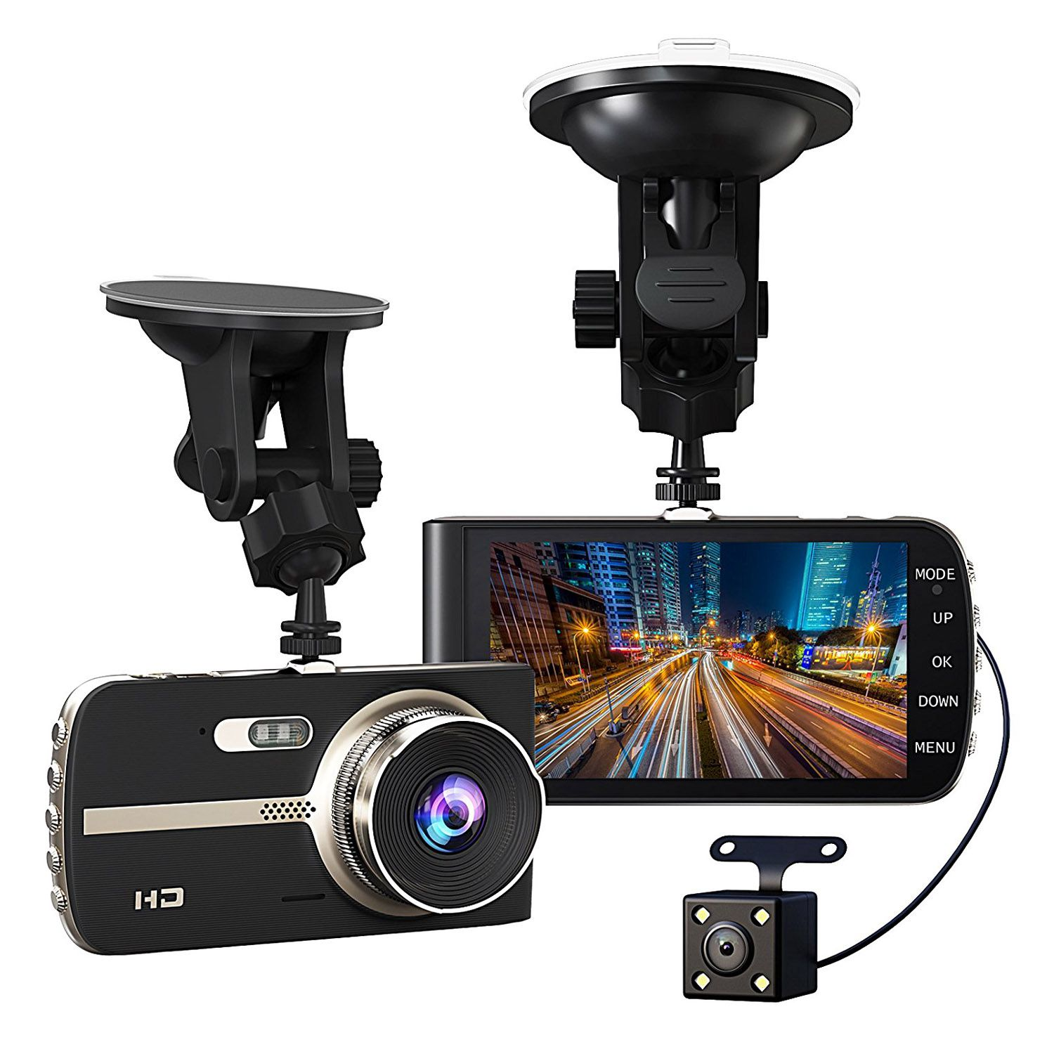 Super HD 1080P Front + VGA Rear 290 Degree Super Wide Angle Car Dash Cam with 4 inch Large HD Screen, G-Sensor, Loop Recording