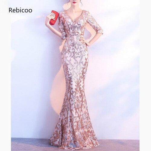 Or Paisley paillettes gemme perlée col en V demi manches de luxe Occasion spéciale longues robes pour les femmes élégant Sexy Club robe de soirée