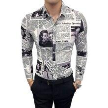 7054c2123a1e Moda Casual dos homens Longa-Camisa de manga comprida Primavera E No Outono  Nova M-5XL Jornal Impressão Camisa Magro Personalida.