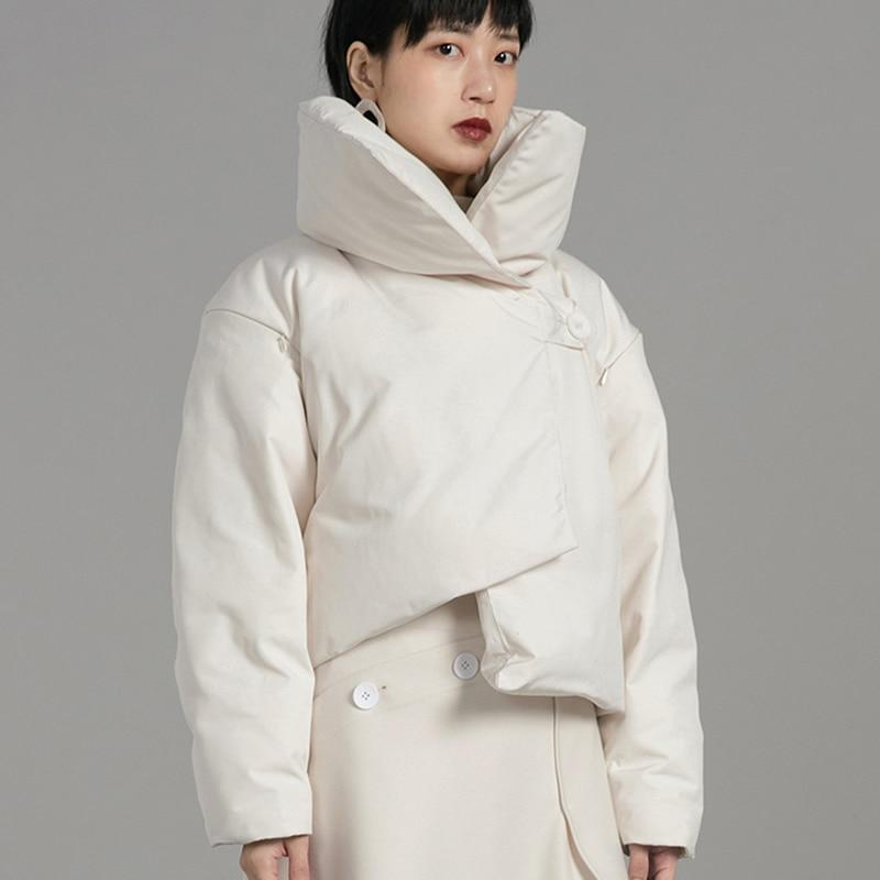 2018 Nouveau Solide Côté Bas Manches Vestes Épais Col Femme Couleur Hollow Beige L176 Court Stand Bouton Long Unique Automne Hiver qC1wtrq