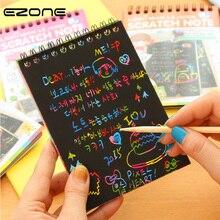 Купить с кэшбэком EZONE 12pcs Magic Scratch Notebook Children DIY Coil Graffiti Notebook Kids Drawing Book Black Pages Painting Notepad Creative