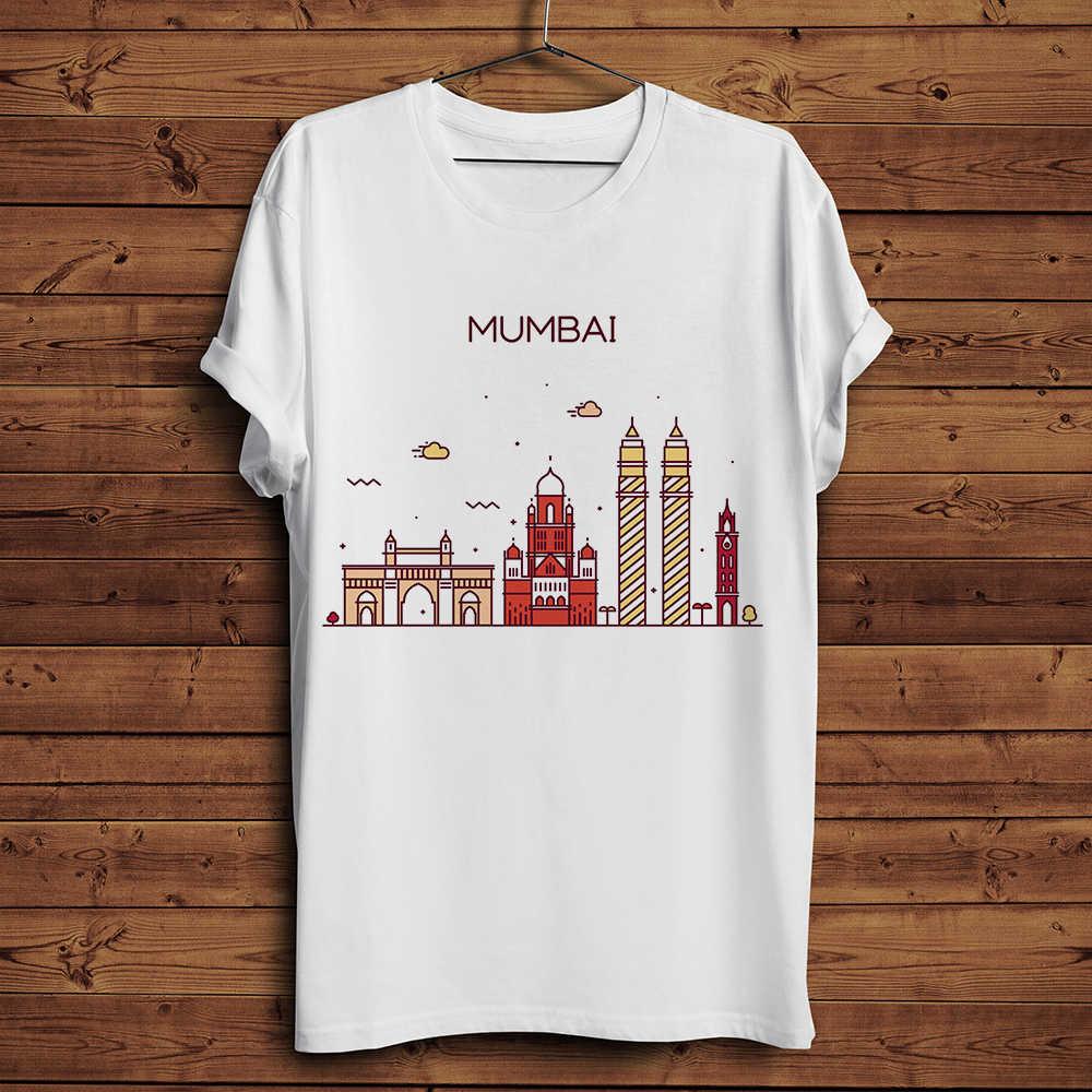 Фото Индия город skyline и ориентир забавная футболка для мужчин лето 2019 г. Новый Белый