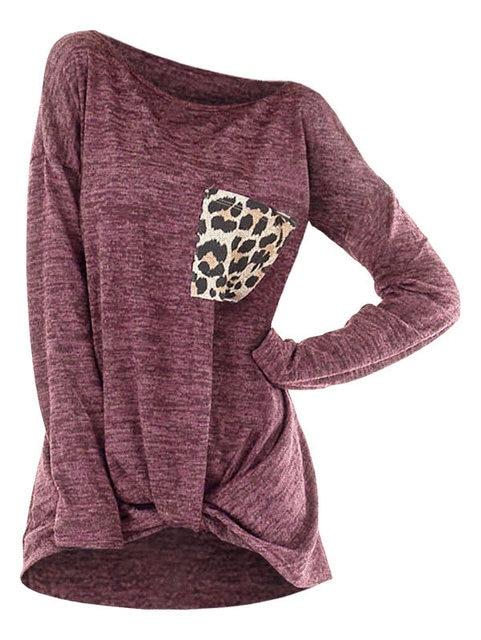 Painel Wipalo Senhoras Leopardo Atado Queda Ombro Camisetas Bolso No Peito de Manga Comprida Sólidos Casual Solto Tees Tops Roupas Femininas