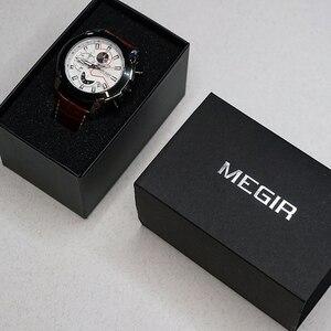 Image 5 - MEGIR Chronograph spor İzle erkekler lüks yaratıcı kuvars bilek saatleri saat erkekler Relogio Masculino 2065 ordu askeri kol saati