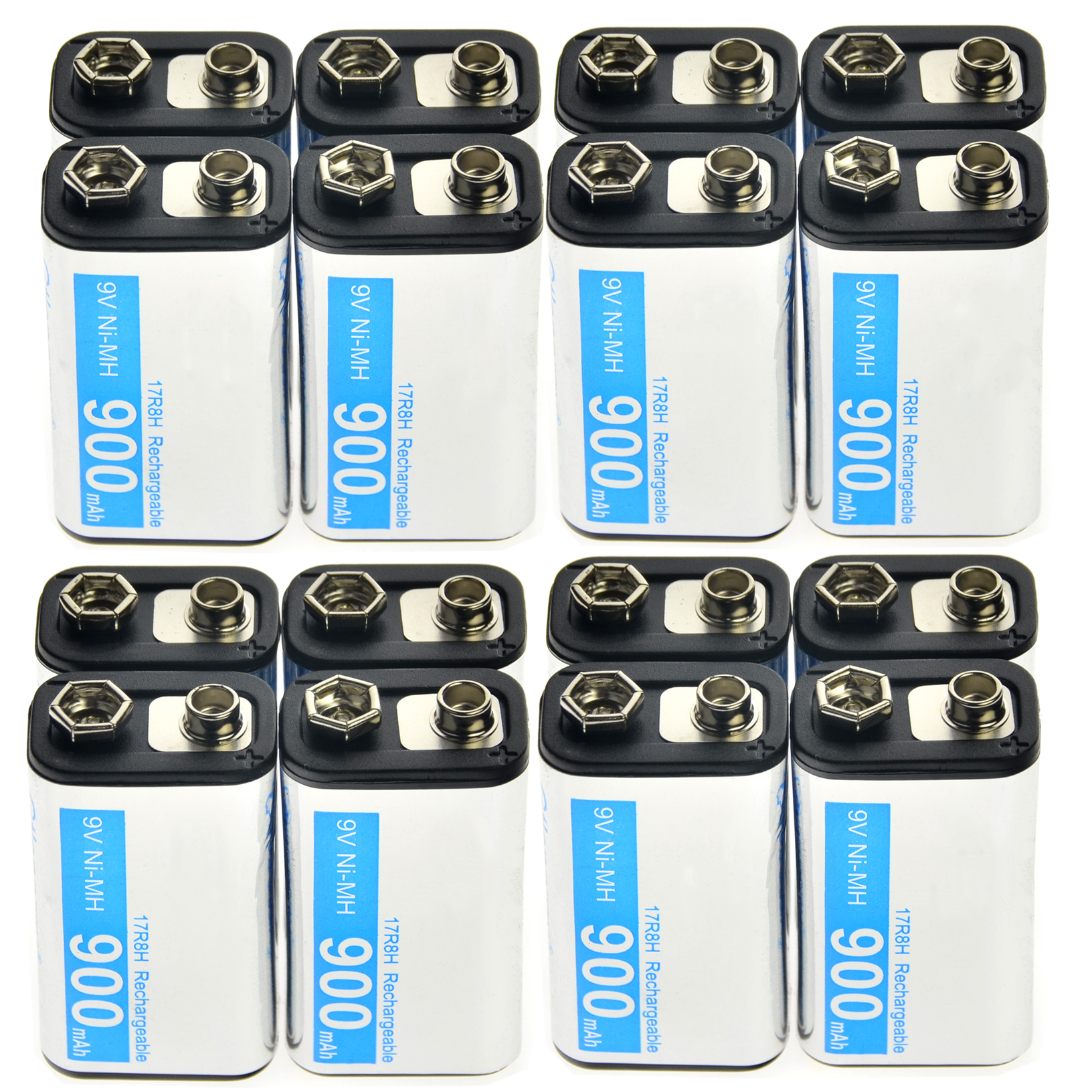 2-24 stücke 9 V 900 mAh Wiederaufladbare Zelle Durable Batterie PPS Schwarz NiMh block Power