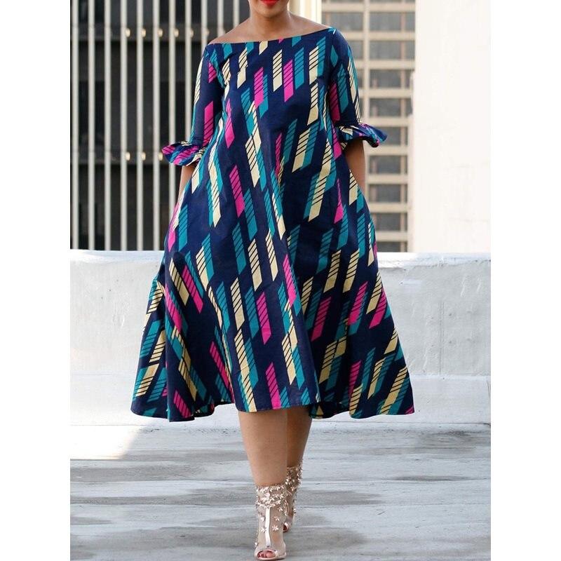 Femmes Robe mi-longue Sexy épaule dénudée imprimer couleur bloc été 2019 à la mode grande taille Robe une ligne élégante décontracté Street Day robes