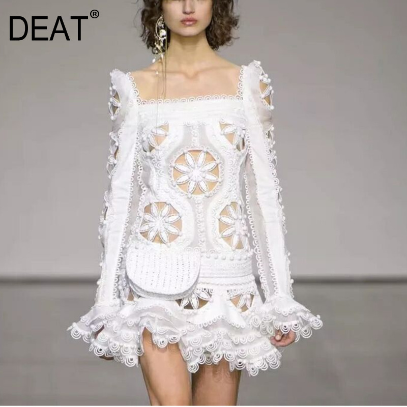 DEAT 2018 Autumn Summer New Pattern Lace Stitching Full Flare Sleeve Hollow Out Ruffle Side Ladies