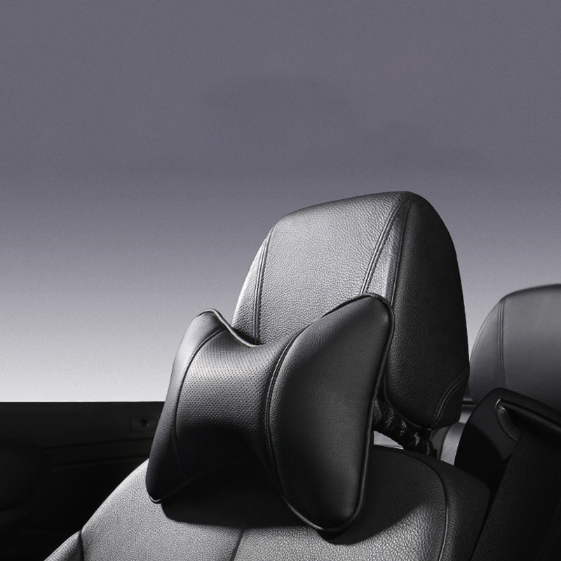 Car Home Dual-use Car Artificial Leather Headrest Car Interior Bone Neck Pillow Car Seat Breathable Massage Pillow Seat Supports